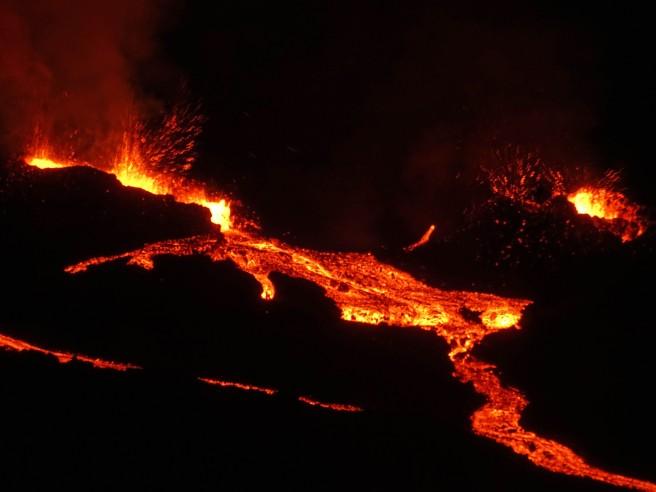 Volcan à l'île de la Réunion, éruption du piton de la fournaise