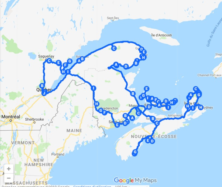 carte itinéraire road trip est canadien québec gaspésie nouveau brunswick ile du prince édouard nouvelle écosse canada voyage