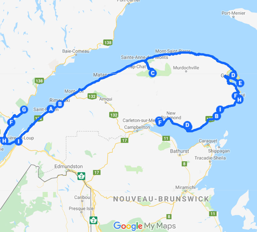 carte Itinéraire road trip gaspésie québec canada
