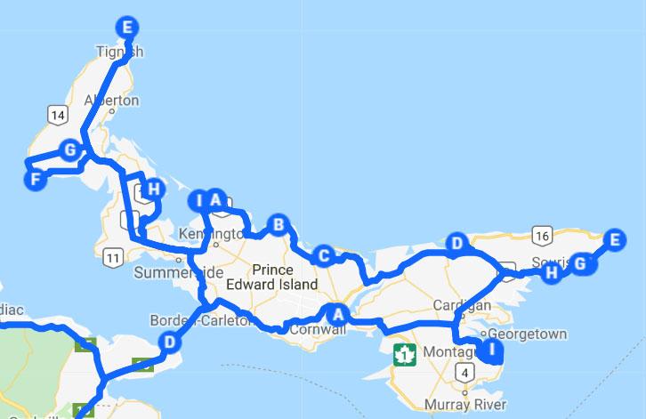 carte itinéraire road trip ile du prince édouard est canadien