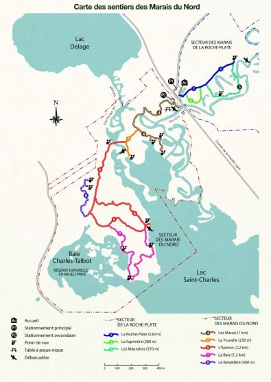 carte sentier des marais du nord québec randonnée automne canada