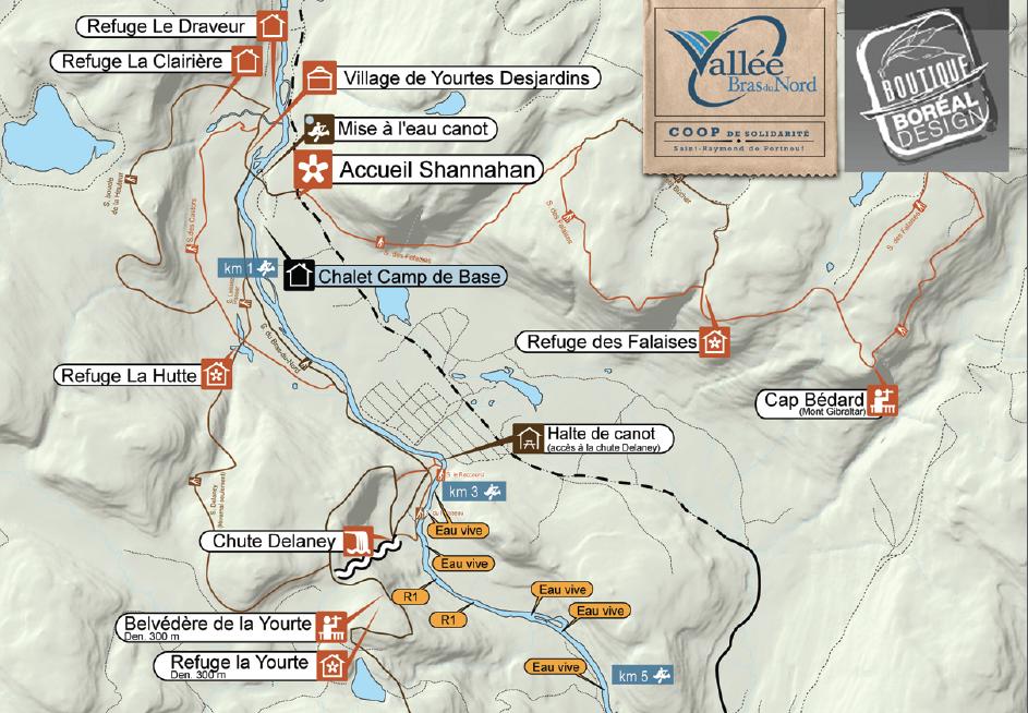Carte du secteur shannahan vallée bras du nord randonnée québec