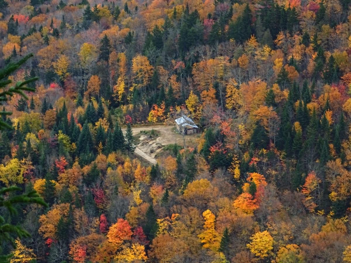 Randonnéé d'automne pour voir les couleurs au Québec, Canada : Vallée Bras du Nord