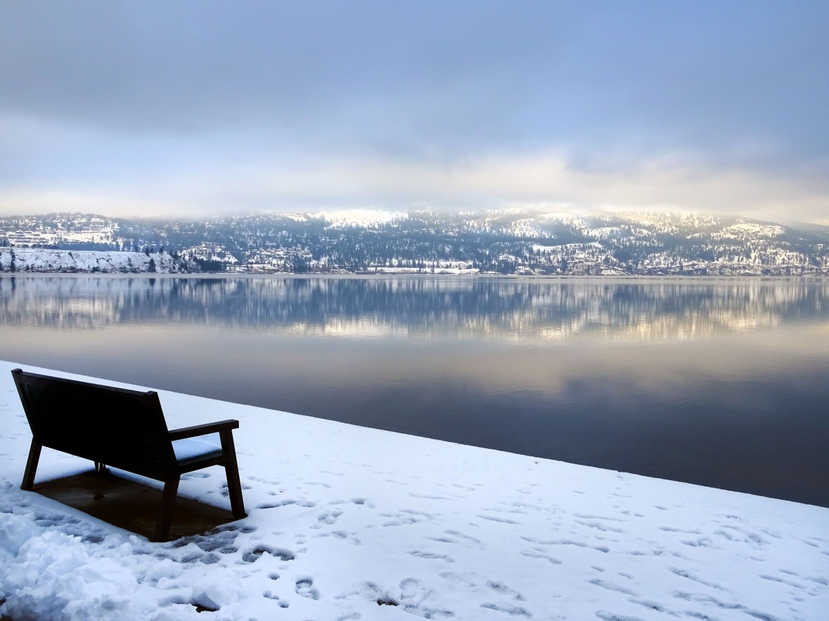 City park en hiver, Kelowna, Vallée d'Okanagan, Canada