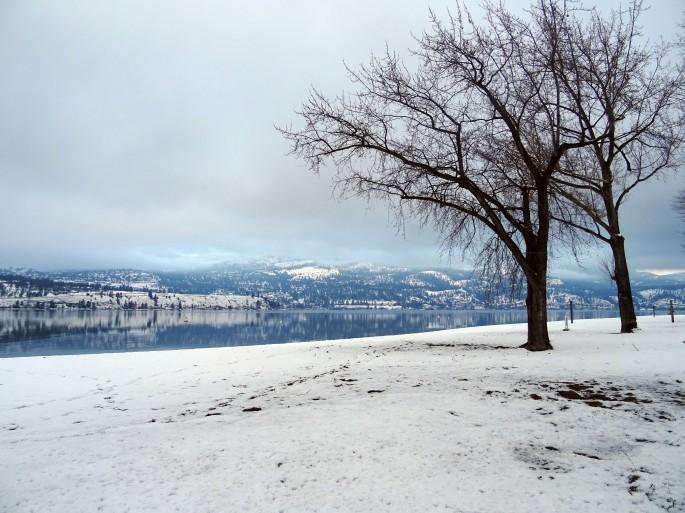 Kelowna, Colombie britannique, Vallée d'Okanagan en hiver, Canada