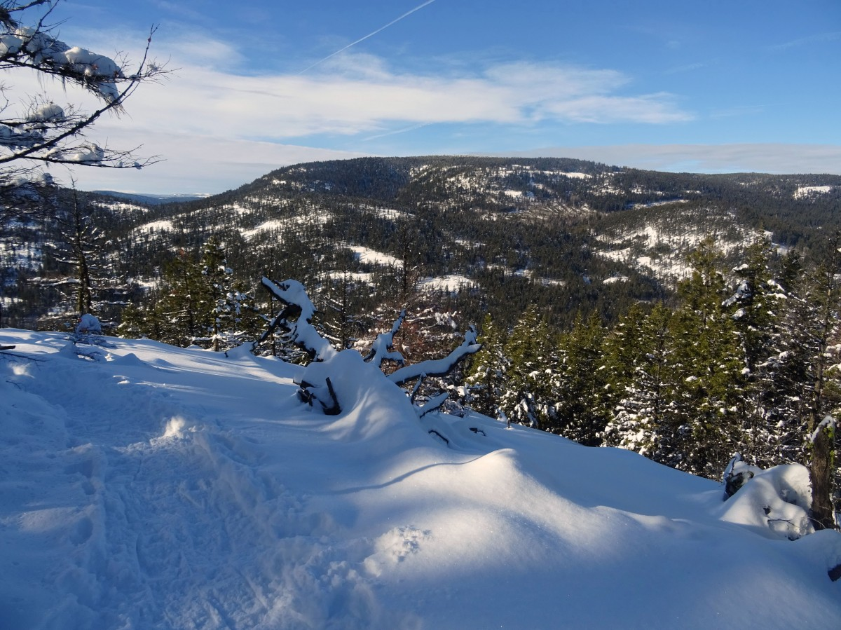 Randonnée raquette Kelowna panorama ridge trail, Telemark, Okanagan valley Canada hiver