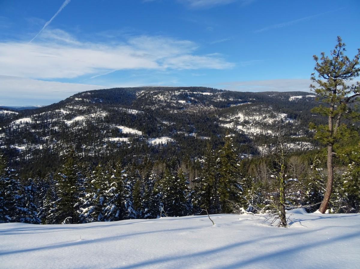 Randonnée raquette Kelowna Telemark, panorama ridge trail,  Okanagan valley Canada