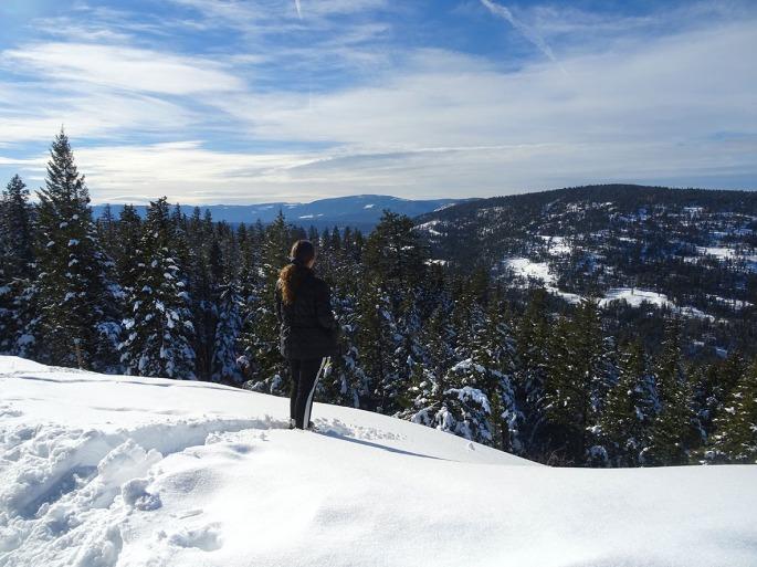 Randonnée raquette Telemark Kelowna panorama ridge trail, okanagan valley Canada