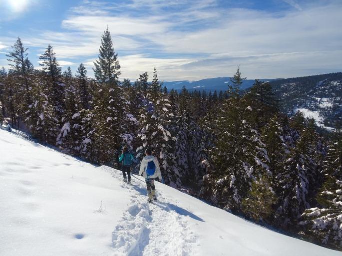 Randonnée raquette Kelowna panorama ridge trail Telemark, Okanagan valley Canada