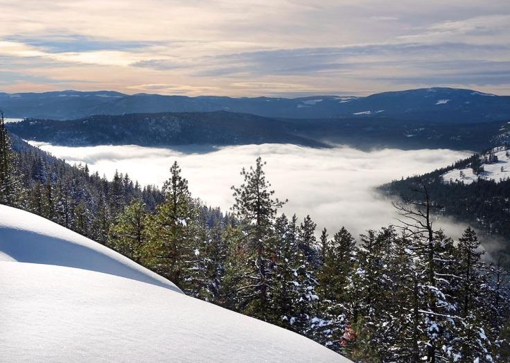 Randonnée raquette à Kelowna, panorama ridge trail  Telemark, Okanagan valley, Canada
