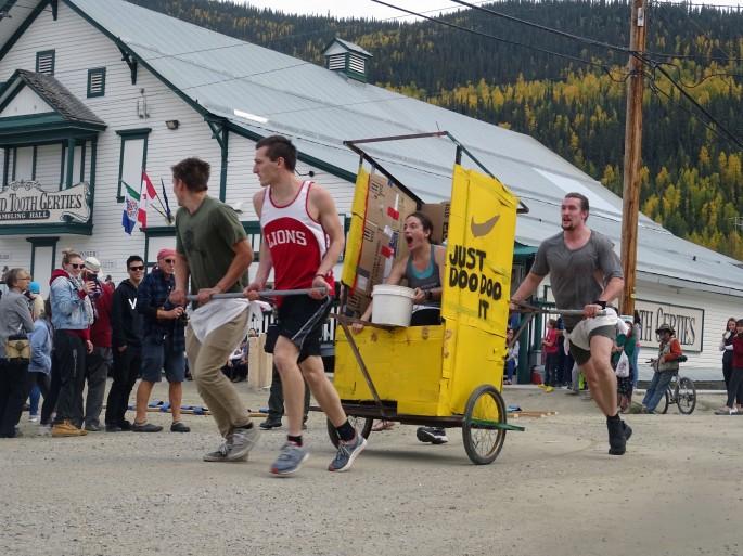 International outhouse race, Dawson city, Yukon, Canada