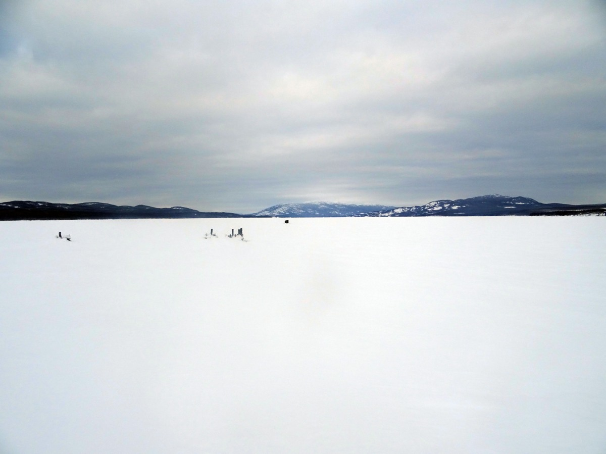 Marsh lake en hiver, Yukon Territory, Canada