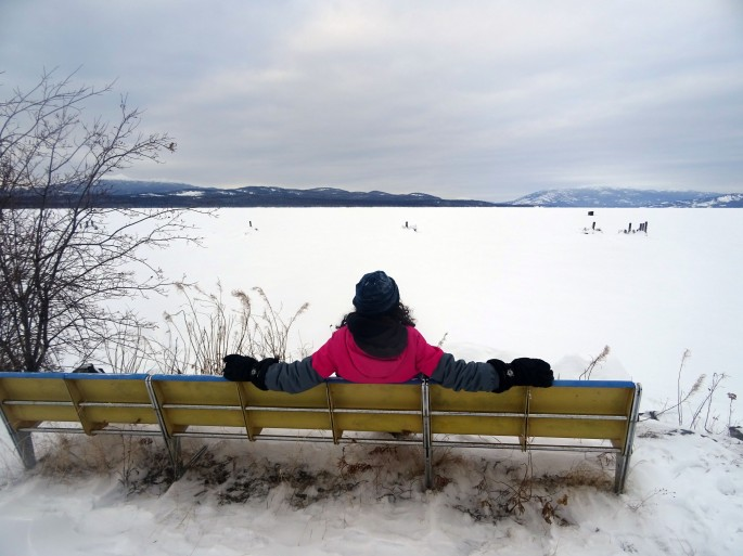 Marsh lake, lac gelé au Territoire du Yukon, Canada