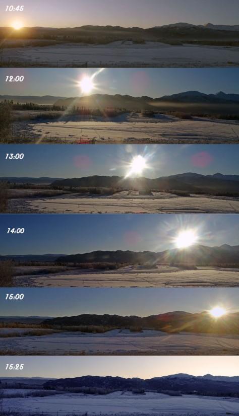 Parcours du soleil en hiver, Yukon