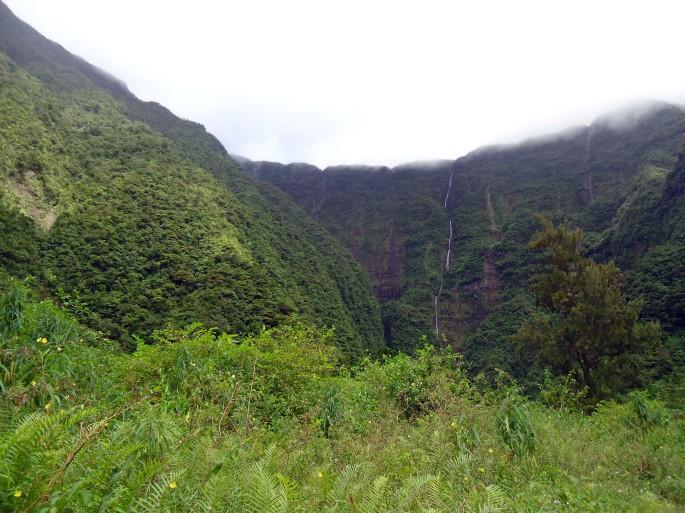 Randonnée au Grand étang, Saint-benoit, Réunion. Vue sur les cascades du bras d'Annette