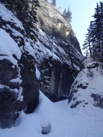Randonnée Grotto canyon, l'Alberta en hiver